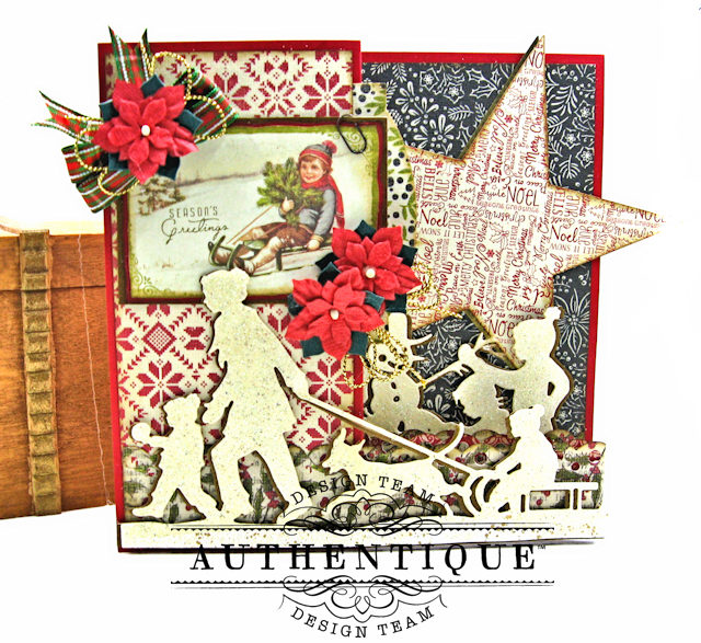 Authentique Vintage Christmas Z Fold Cards 3 Ways Tutorial by Kathy Clement Product by Authentique Photo 8