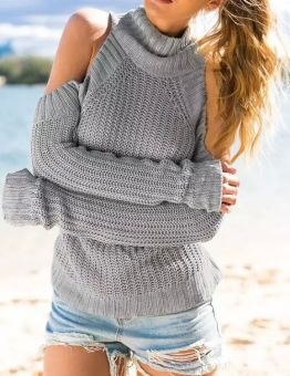 Women's Turtleneck Cut Out Shoulders Sweater