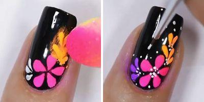 mais pózinho neon nas unhas com flores