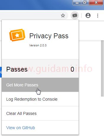 Chrome estensione Privacy Pass menu con opzione Get More Passes