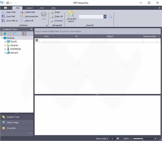 تحميل برنامج قوي لإدارة رسائل البريد الإلكتروني PSTViewer Pro 2019v9.0.988.0