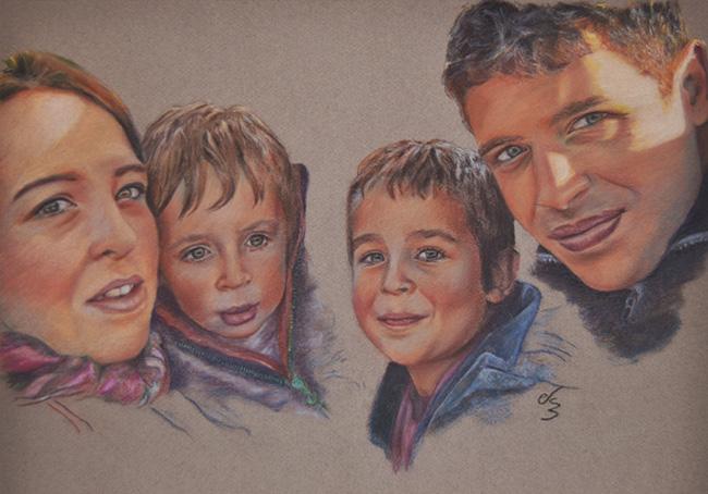 Retrato de una familia a pastel