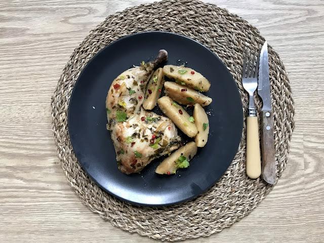 POLLO ASADO CON SALSA CHIMICHURRI. Cómo hacer pollo asado en crockpot u olla lenta