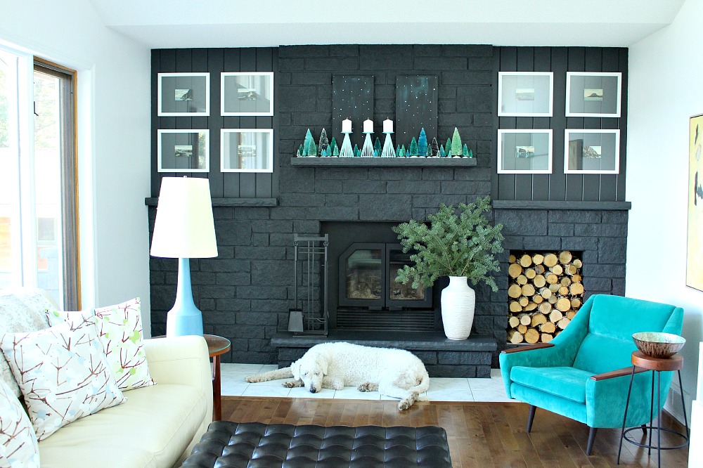 Komondor in front of dark grey fireplace
