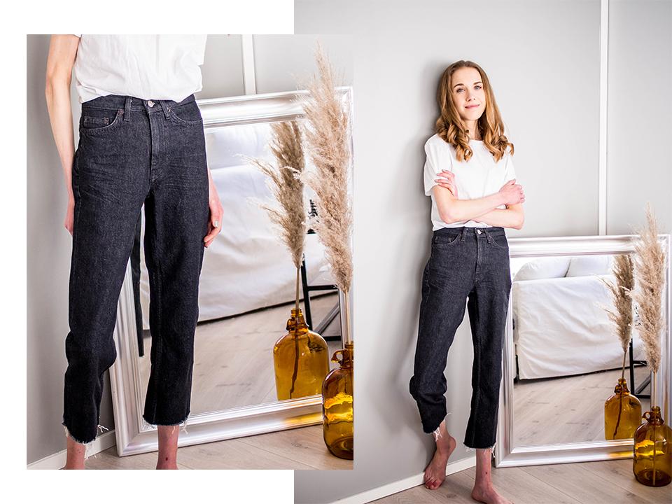Dark wash straight leg raw hem jeans - Tummat vajaamittaiset farkut revityillä lahkeilla