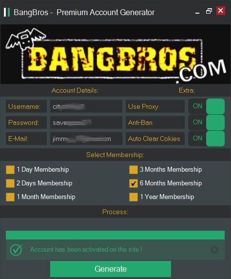 bang bros premium account generator main screen