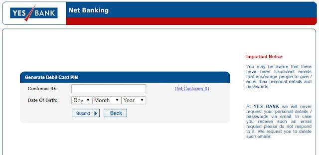 Yes bank netbanking