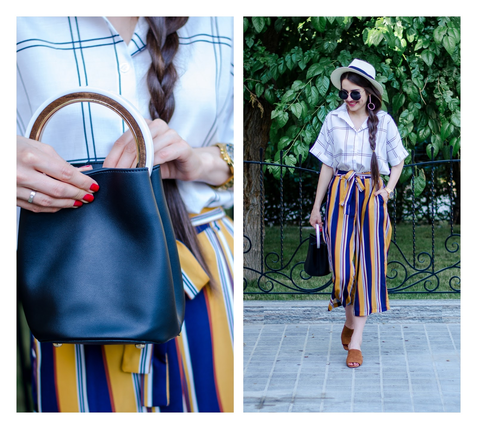 fashion blogger diyorasnotes diyora beta lookoftheday striped culottes oversized crop shirt shein straw hat bucket bag mules statement earrings summer outfit 2017