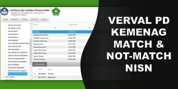VERVAL PD KEMENAG MATCH & NOT MATCH NISN