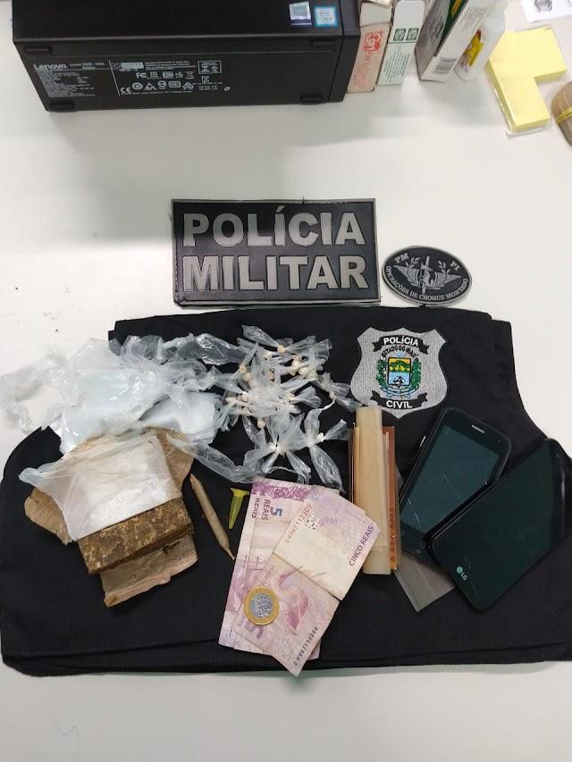 Polícias Militar e Civil estoura boca de fumo e faz apreensão de drogas no bairro Piçarra em Elesbão Veloso.