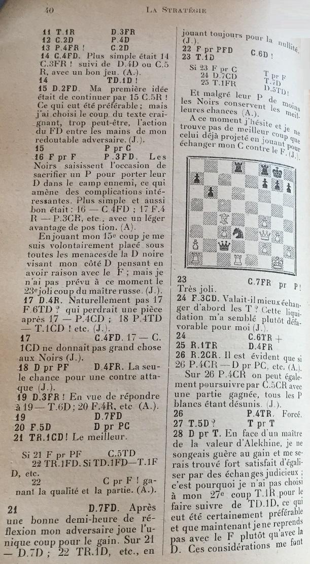 La Stratégie, 1922, recorte de la página 40