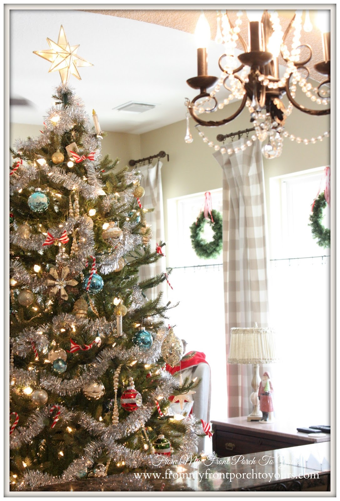 Vintage Christmas Tree- Farmhouse Vintage Christmas Living Room- From My Front Porch To Yours