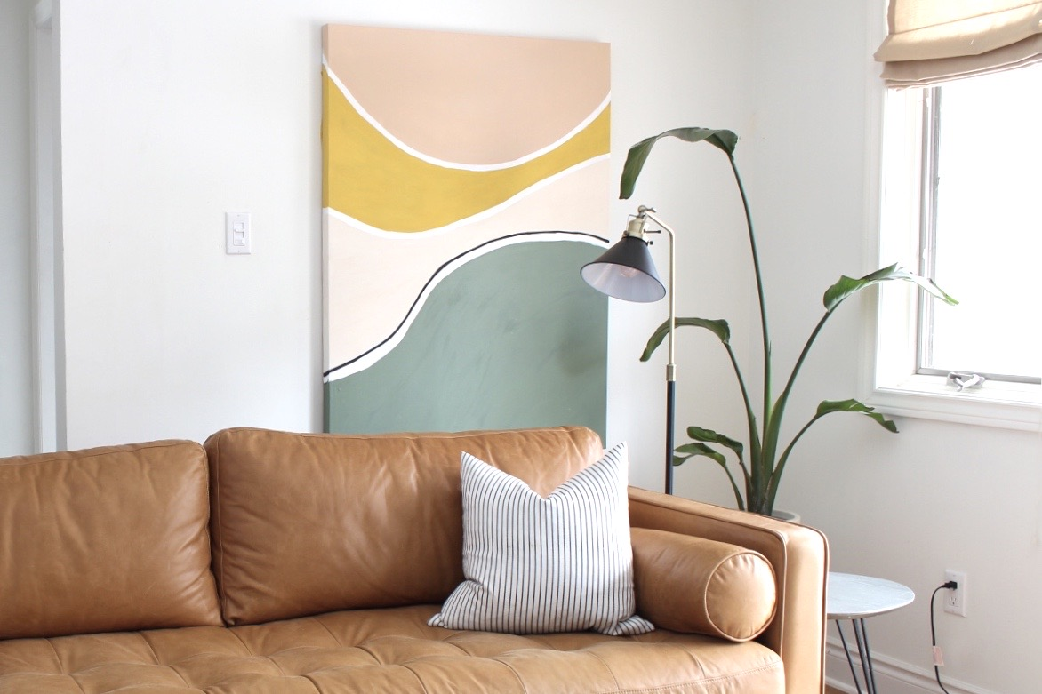 20 Stay Home DIY Home Decor Projects - Mid Century Modern Abstract Painting