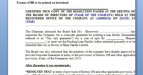 board resolution format for corporate guarantee in word format