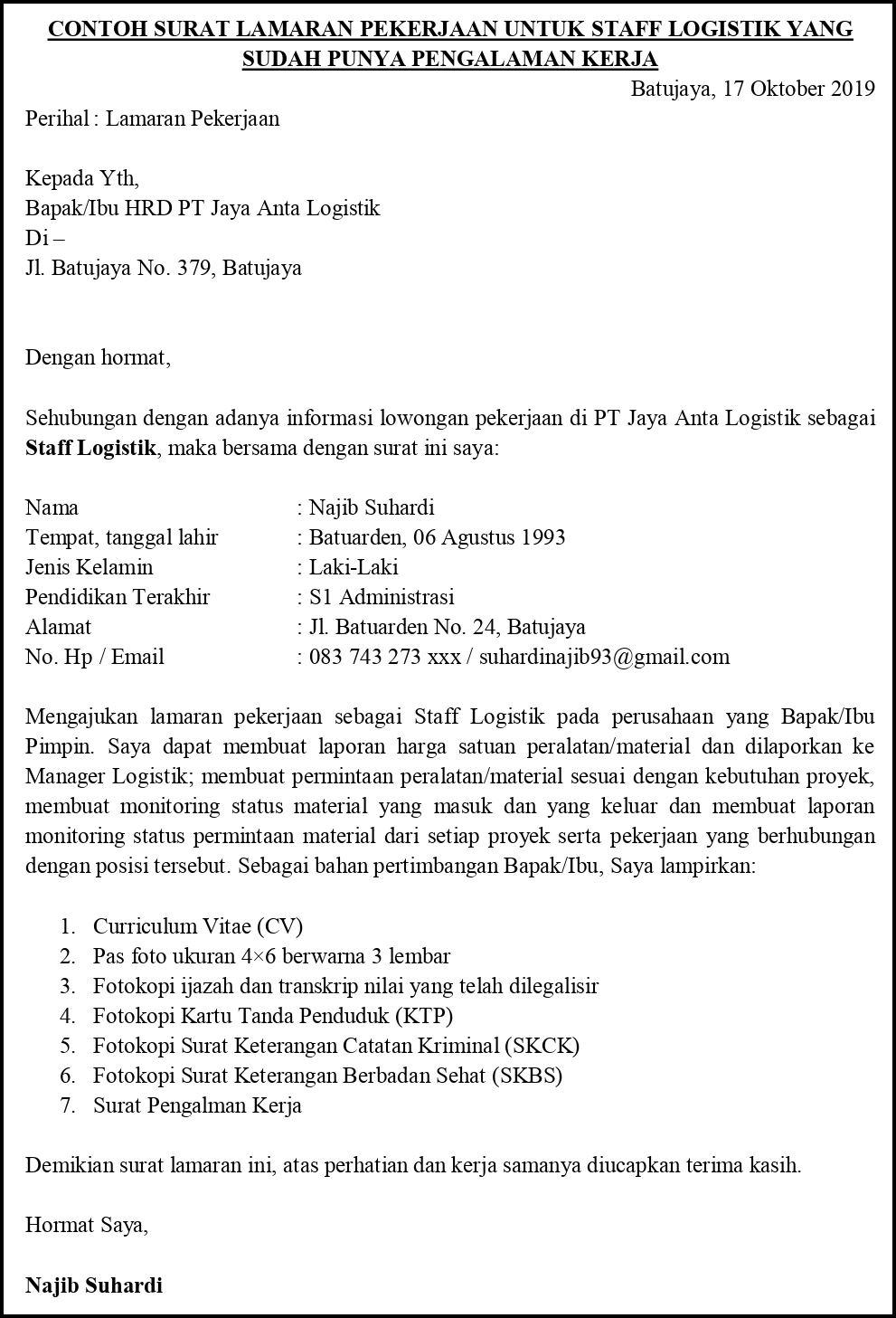 Contoh Surat Lamaran Pekerjaan Untuk Operasi Bisnis Tanpa Koma
