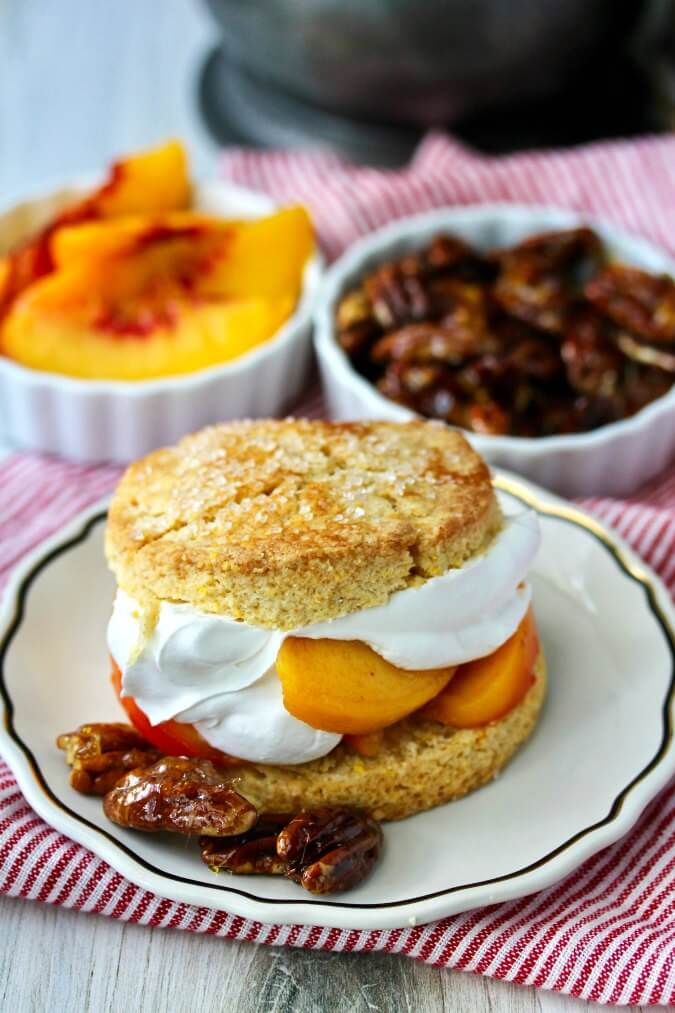 Peach Shortcakes with Candied Pecans