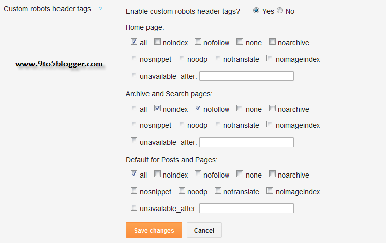 Custom X-Robots Heder Tags for Blogger