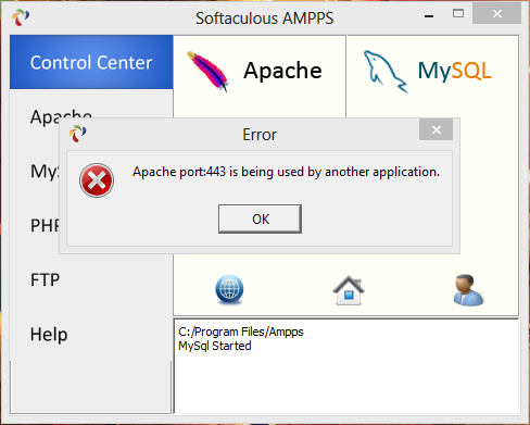 Ampps apache port 80 is being used by another application