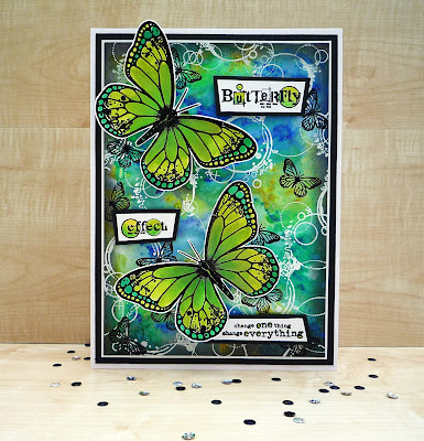 butterfly stamp | big | handmade card | pixie powders | embossing