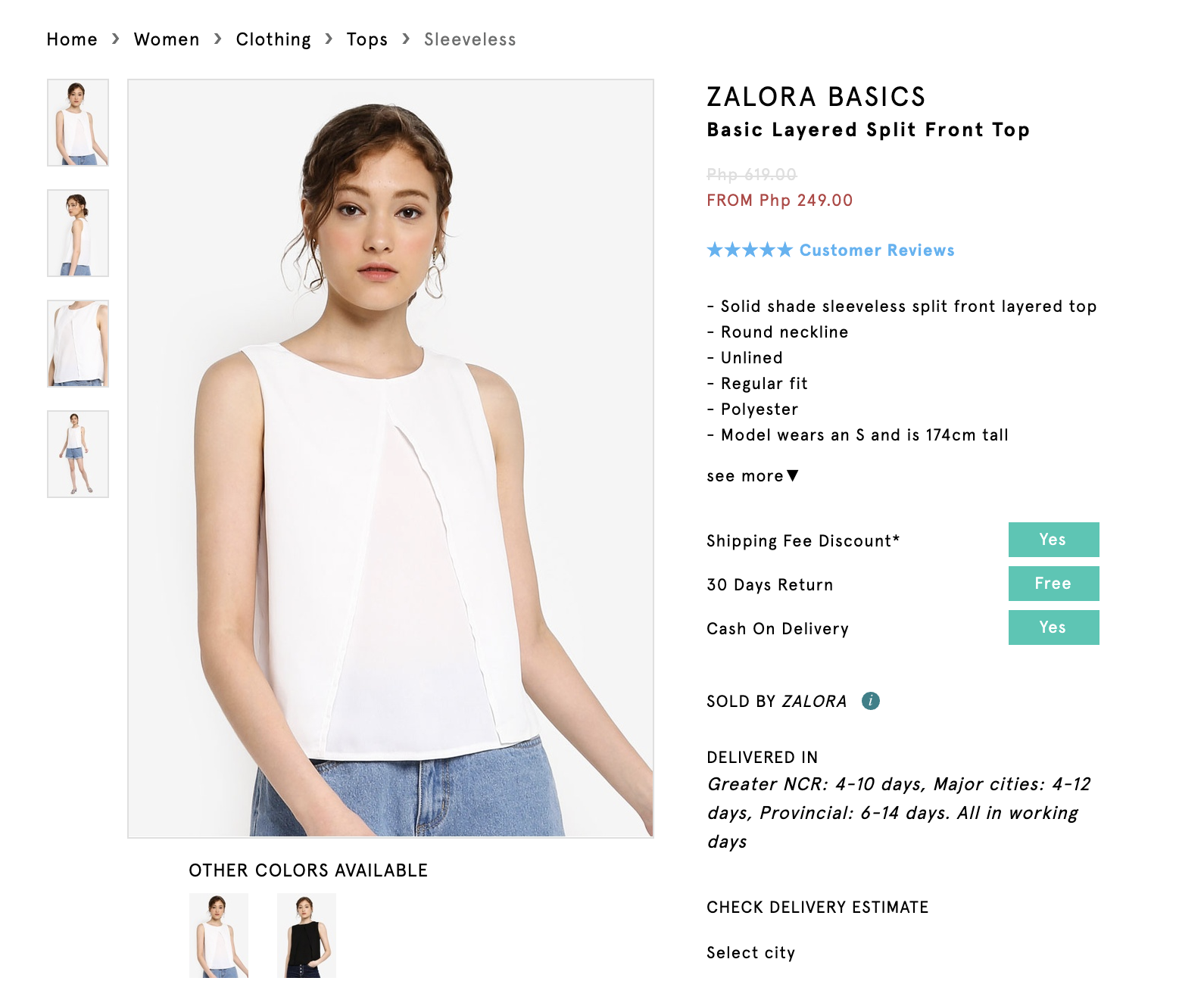 Screenshot of Zalora Basics Basic Layered Split Top