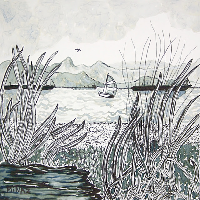 Vancouver BC, Jerico Beach India Ink on Bristol Board by Minaz Jantz NFS