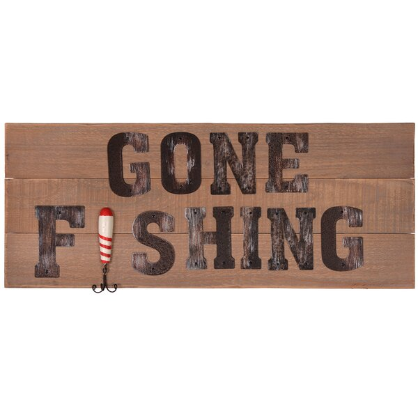 Gone Fishing Wooden Sign Wall Decor