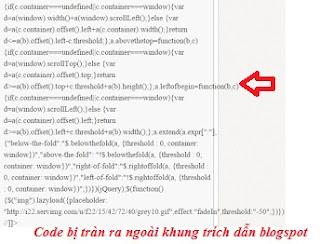 Sửa lỗi nội dung trích dẫn code bài viết tràn ra khỏi khung blogspot