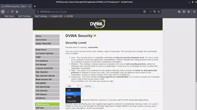 DVWA security Level