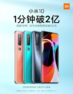 Xiaomi menjual Mi 10 unit senilai 200 juta yuan dalam satu menit dalam penjualan pertamanya di Cina