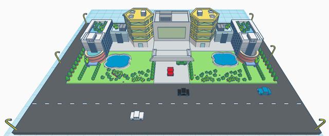 Hotel scene in Tinkercad