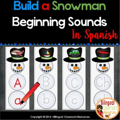 Build a Snowman Beginning Sounds In Spanish-Sonidos Iniciales