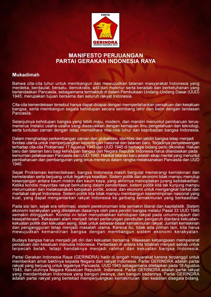 Manifesto Perjuangan Partai Gerindra