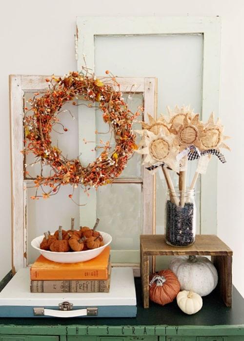 Cinnamon Pumpkins in a fall décor vignette.