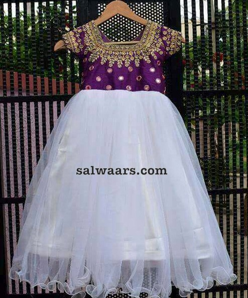 White and Purple Mirror Frock