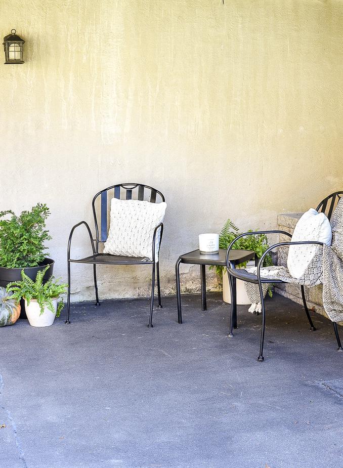 Updated iron patio decor
