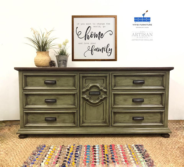 green sideboard makeover