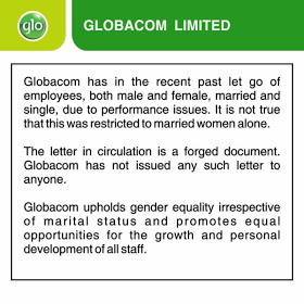 Glo workers sack statement