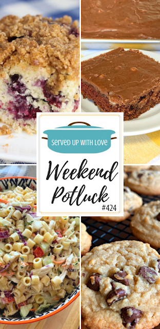 Weekend Potluck featured recipes include Coleslaw Pasta Salad, Texas Brownies, Blueberry Coffeecakewith Streusel Topping, Easy Bisquick Chocolate Chip Cookies, and so much more.