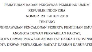 Download PERBAWASLU RI Nomor 23 Tahun 2018
