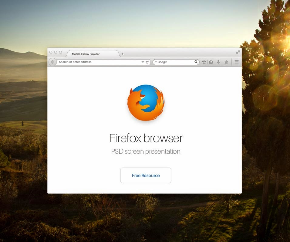 Firefox Browser Psd Mock up