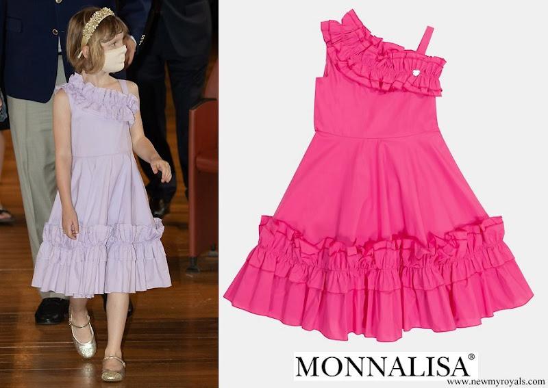 Princess Gabriella wore Monnalisa Purple One-shoulder Ruffle Dress