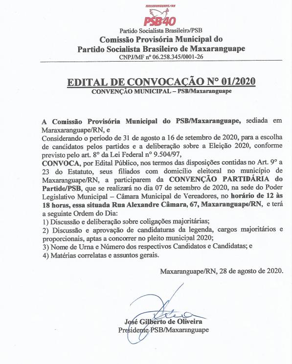MAXARANGUAPE: PSB CONVOCA CONVENÇÃO PARA HOMOLOGAR CANDIDATURAS