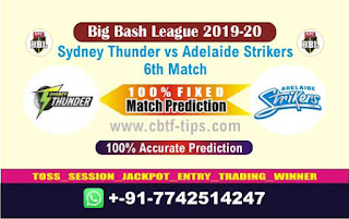 Who will win Today BBL T20, 6th Match Adelaide vs Thunder - Cricfrog