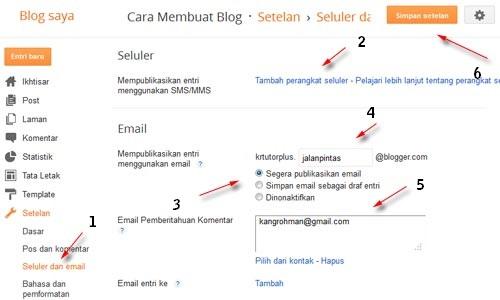Cara setting Menu Seluler dan Email di blog dengan mudah