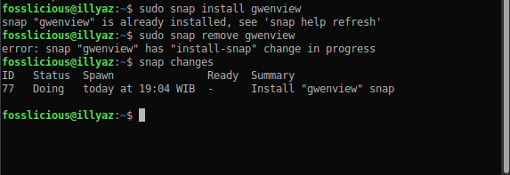 snap package error change in progress