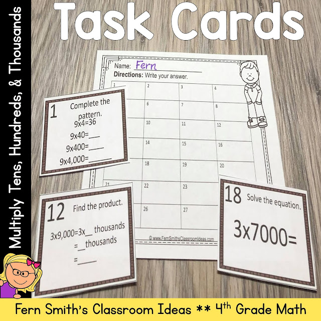 TASK CARDS FOR TEACHING HOW TO MULTIPLY TENS, HUNDREDS, AND THOUSANDS? 4TH GRADE GO MATH 2.3 #FERNSMITHSCLASSROOMIDEAS