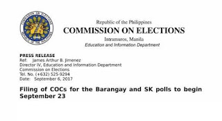 Filling of COCs for SK, Barangay Elections will Start Sept. 23