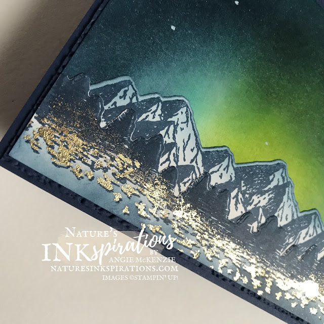 By Angie McKenzie for Ink and Inspiration Blog Hop; Click READ or VISIT to go to my blog for details! Featuring the Mountain Air Stamp Set, Majestic Mountain Dies, Evergreen Forest 3D Embossing Folder using the Northern Lights Technique with Gilded Leafing accents by Stampin' Up!®; #mountainairstampset #handpennedpetalsstampset #majesticmountaindies #mountainairbundle #anythingispossible  #stampinupcolorcoordination #inkandinspirationbloghop #stampingtechniques #occasioncards #northernlights #nature #naturesinkspirations #20202021annualcatalog #20212022annualcatalog #bloghops #iibh #stampinup  #handmadecards #gildedleafing #blendingbrushes