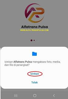 Izinkan Alfatrans Pulsa mengakses foto, media dan file perangkat?