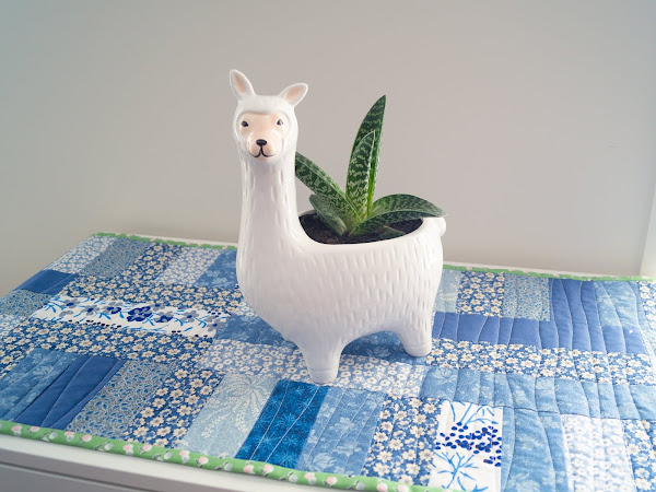 Blue Scraps, Organic Quilting and a Llama